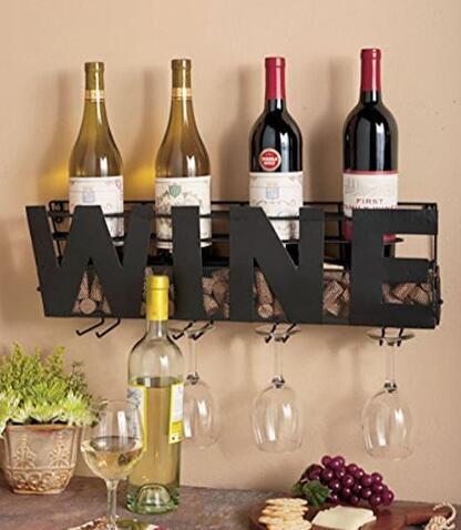 AFFAIRE Métal Wall Mount Bouteille de Vin Rack: Tenir Vin Bouchons et Verres à Vin