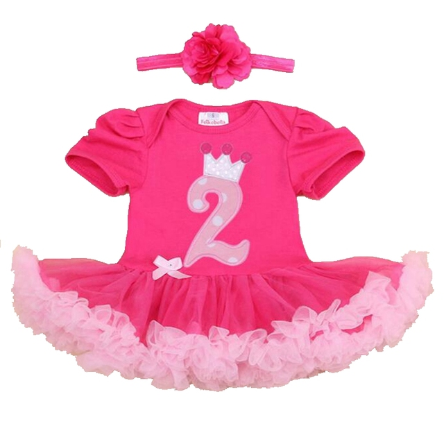 Corona segunda Niñas Trajes de Cumpleaños Vestido Del Bebé Que Arropan Verano Mameluco Del Cordón Venda de La Muchacha Del Niño Ropa de Niños Ropa