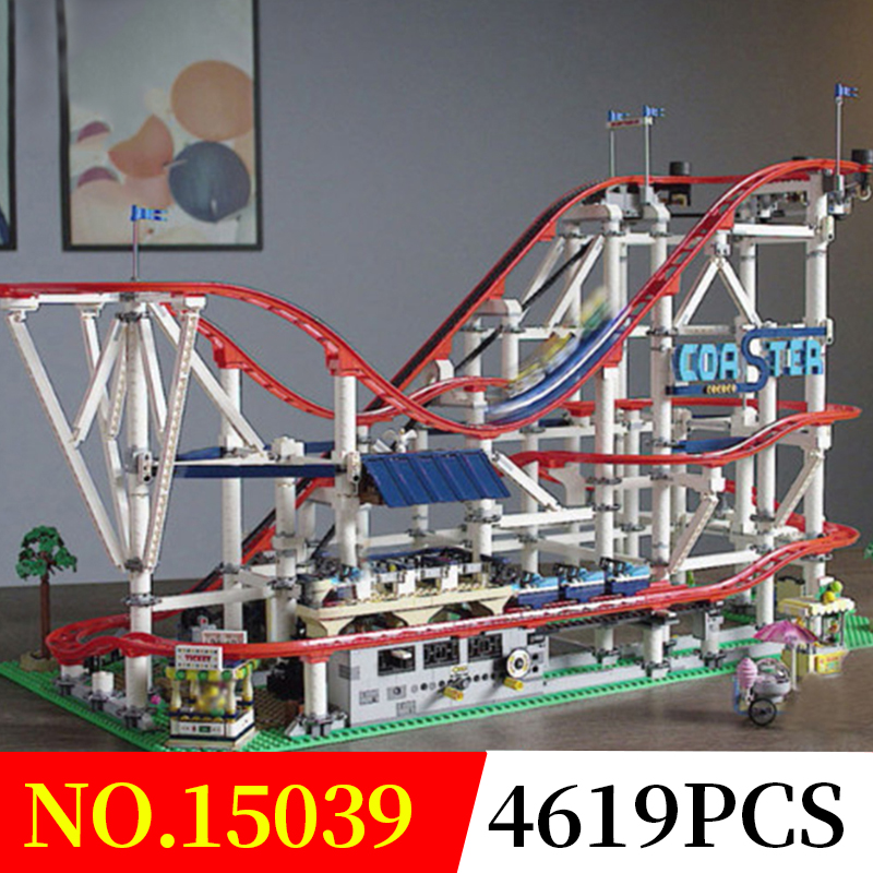 Building Blocks City Street 15039 4619Pcs Compatible Legoed 10261 The roller coaster Set Toys Bricks Lepin city street in blocks new lepin 16009 1151pcs queen anne s revenge pirates of the caribbean building blocks set compatible legoed with 4195 children