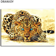 Frameless Pictures DIY Painting By Numbers Of Leopard Animals Oil Painting On Canvas Home Decoration Wall Aar 40*50cm GX4175(China)