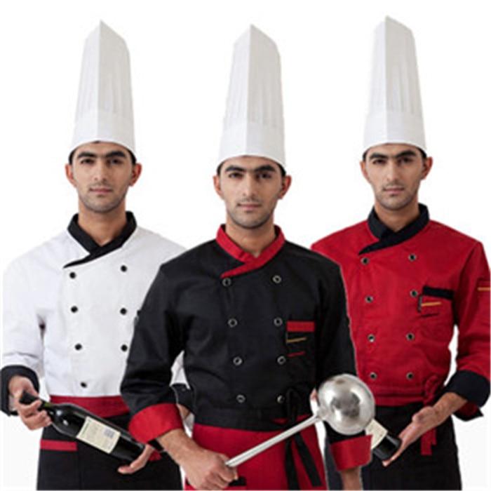 vysoce kvalitní muži s dlouhým rukávem 2018 Kuchařský servis Hotel pracovní oděvy Restaurace Dvouřadové ženy Kuchařská uniformní kuchařská bunda