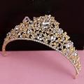 Golden Wedding Crown Tiara Hair Accessories Head Jewelry Bridal Diadem Mariage Bijoux Femme De Tete Cheveux Coroa Noiva WIGO0745