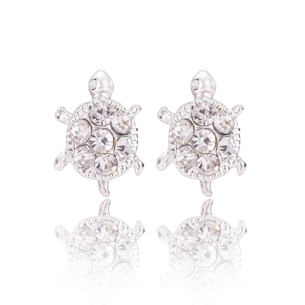 2017 New Arrival Fashion Statement Jewelry Turtle Shape Cubic Zirconia Crystal Earrings For Women E0179