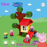 2018 Genuine Peppa Pig tree house buliding blocks with suzy candy george Figure accessories 9319, Numbers (64 Piece), 4dolls