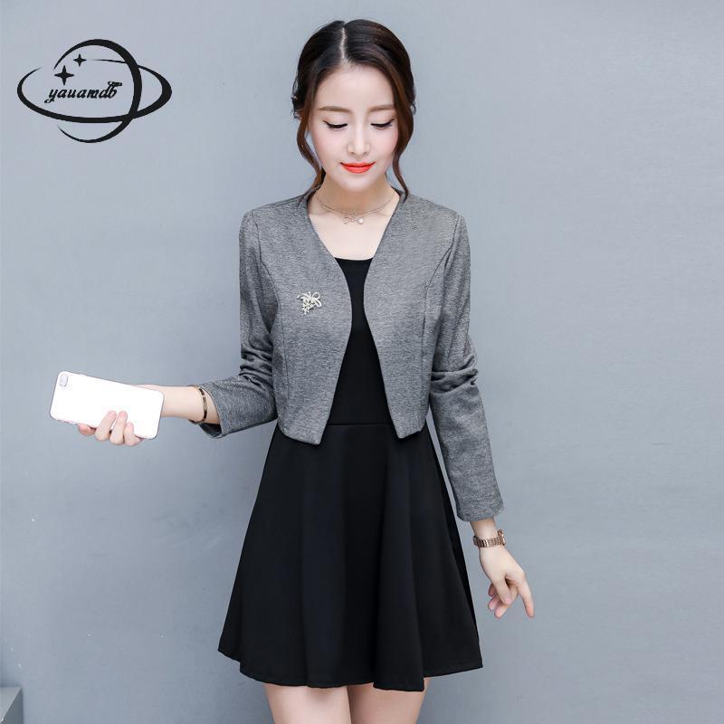 YAUAMDB women dress suits 2018 spring autumn S-2XL female blazer clothing set jacket+knee length dress 2pcs ladies clothes ly61