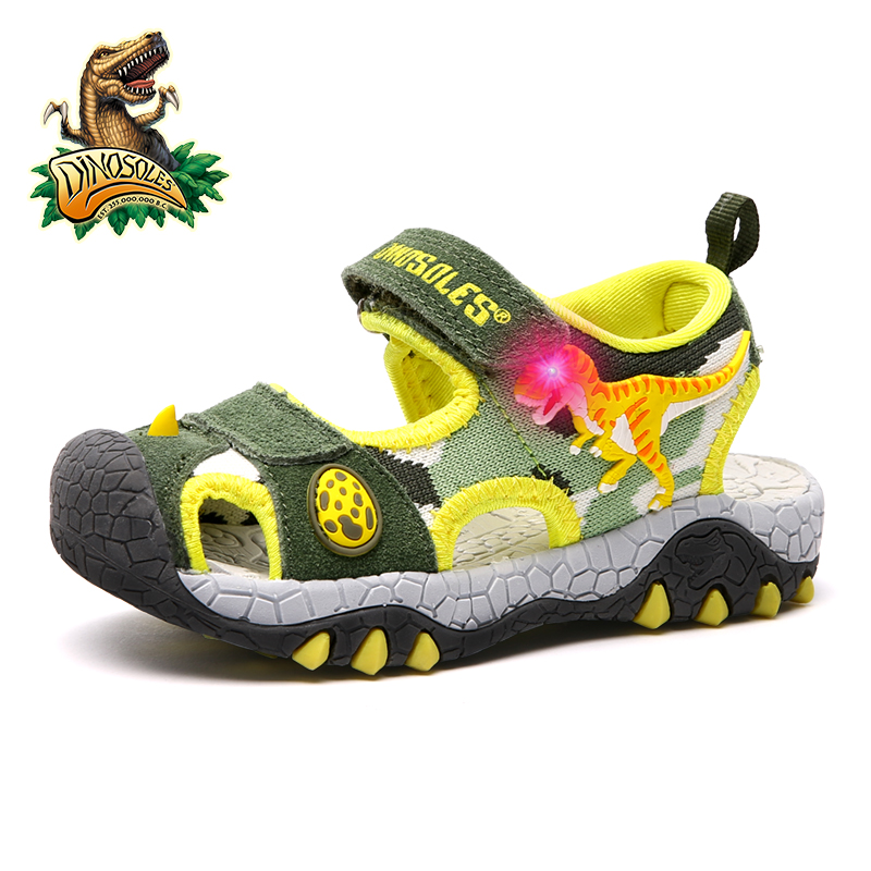Dinoskulls Summer Shoes Boy Light Up Leahter Children Sandals 3D Dinosaur Kids Beach Shoes Led Kids 2019 Toddler Sandals