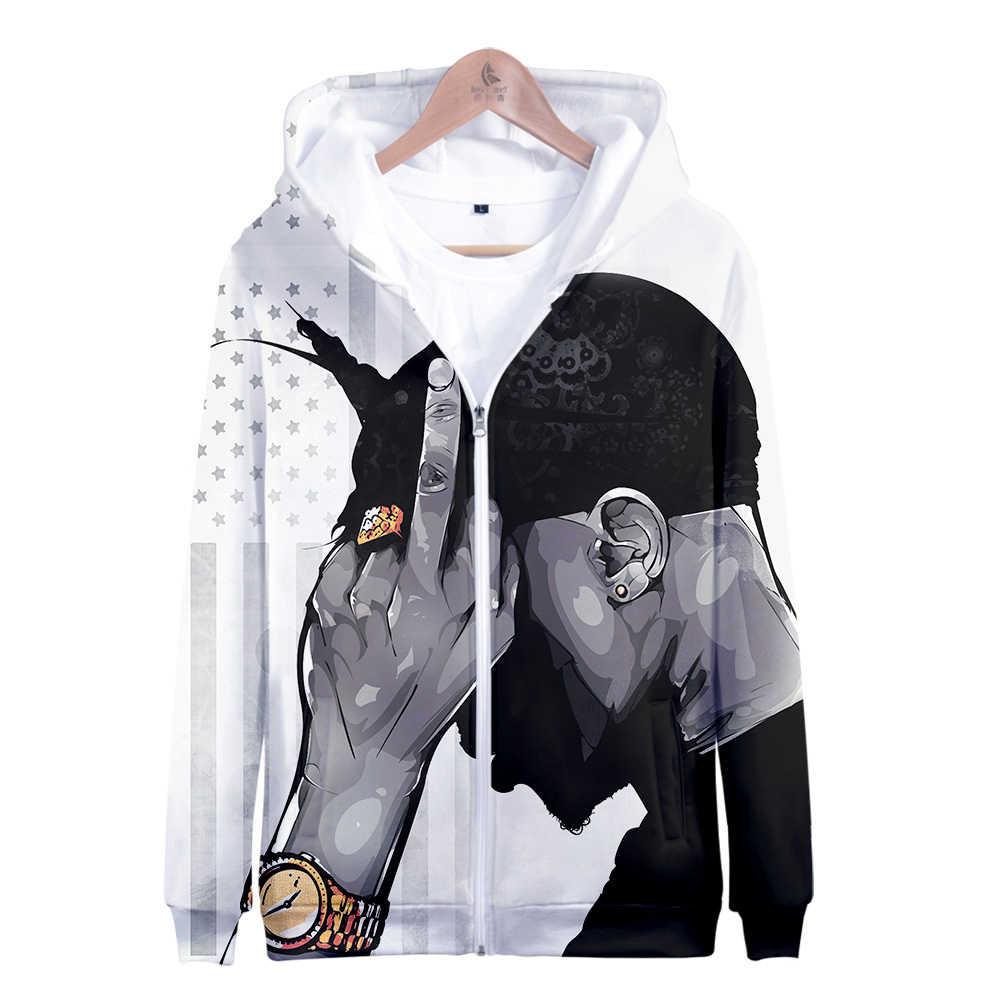 R & B Hip-pop rapero 2Pac mujeres sudaderas con capucha con cremallera mujeres y hombres sudaderas con capucha pulóver manga larga Harajuku tops con capucha con estampado 3D