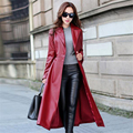 M-2XL 2015 New Autumn Winter Women Coat Turn-down Collar Pu Leather Belt Jacket Female X-long Slim Pocket Outwear 2 Colors ZS534