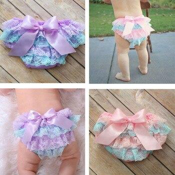 Babys roupa interior da menina da criança babys briefs tecido de algodão rendas borboleta fralda capa plissado calças do bebê calcinhas