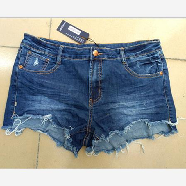 2018 European.American summer wind female blue mid waist denim shorts women worn loose burr hole jeans shorts brand sexy women