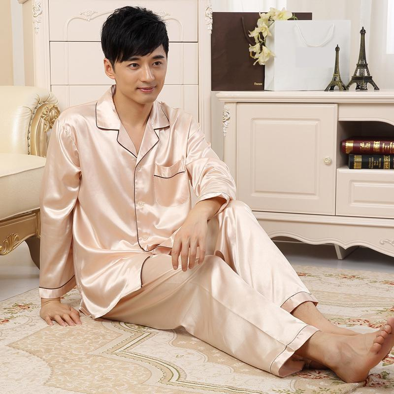 X New Men Satin Nightwear Set Lounge Solid Pajamas Suit Intimate Lingerie Champagne Autu ...