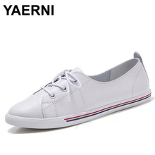 YAERNI 2017 New Genuine Leather Women White Soft Soled Pointed Toy Preppy Style Lace Up Loafers Flat Embosses Shoes