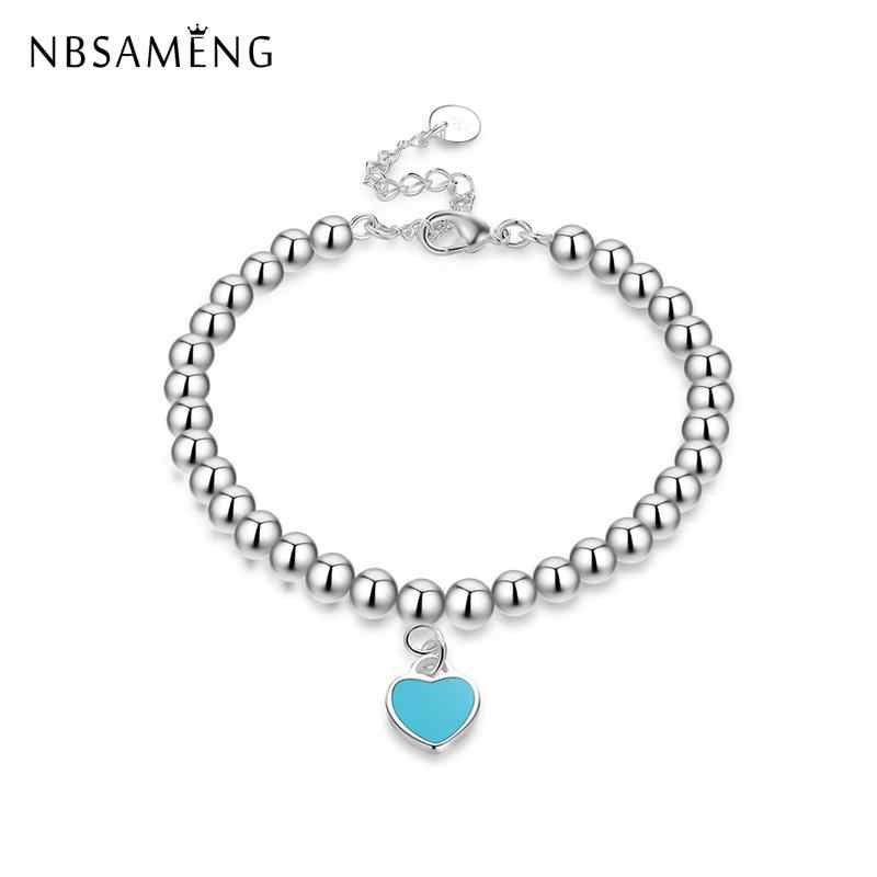 New Silver Plated Lovely Heart Bracelet European Style Original Pan Beaded Charms Bracelets For Women Fashion Jewelry 2018