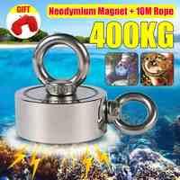 400Kg D75mm Starke Neodym Magnet Doppel seite Suchen magnet haken starke leistung Tiefe Meer Salvage Angeln magnet Mit 10m Seil