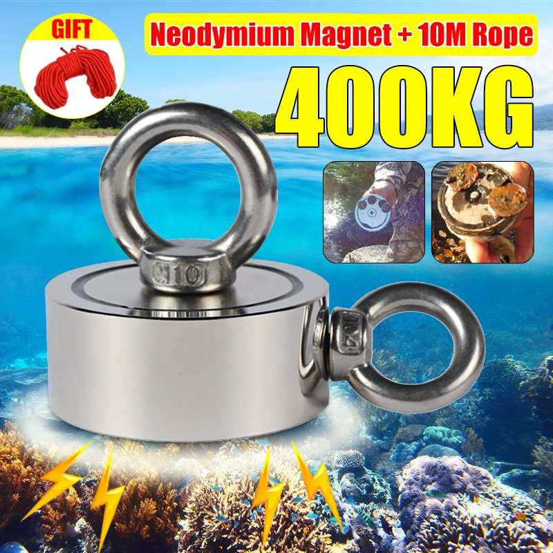 400Kg D75mm forte néodyme aimant Double côté recherche aimant crochet forte puissance en mer profonde récupération pêche aimant avec 10 m corde