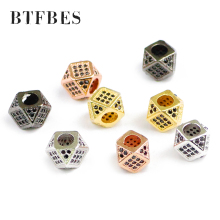 BTFBES 2pcs CZ Copper Coin Spacer beads 8mm flat Round Black zircon Charms metal Loose for Jewelry bracelet making DIY