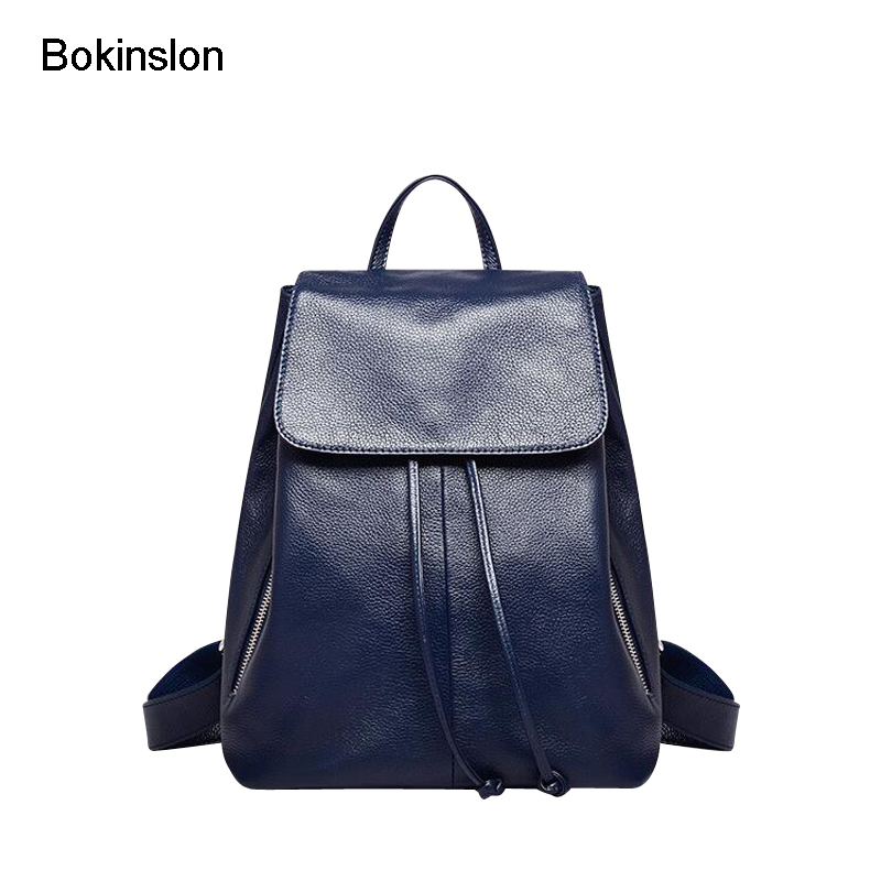 где купить Bokinslon Fashion Backpacks Woman Split Leather Casual Women Travel Bags Popular Practical Girls Backpacks Bags по лучшей цене