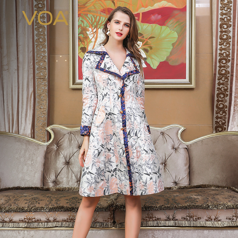 VOA Silk   Trench   Coat Rococo Romance Floral Outerwear Autumn Elegant Vintage Ladies Long Sleeve Large Size Slim Clothes Fall F325