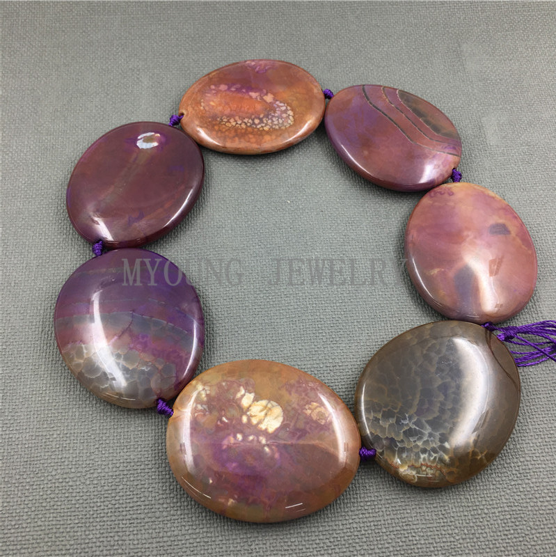 MY1247 Large Dragon Veins Agates Purple Variegated Thick Flat Oval Slice Slab Beads Pendant Necklace Jewelry Making