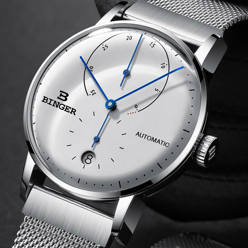 Switzerland BINGER Men Watch Luxury Brand Automatic Mechanical Mens Watches Full Steel Male Japan Movement reloj hombre B-1187G đồng hồ binger bg54
