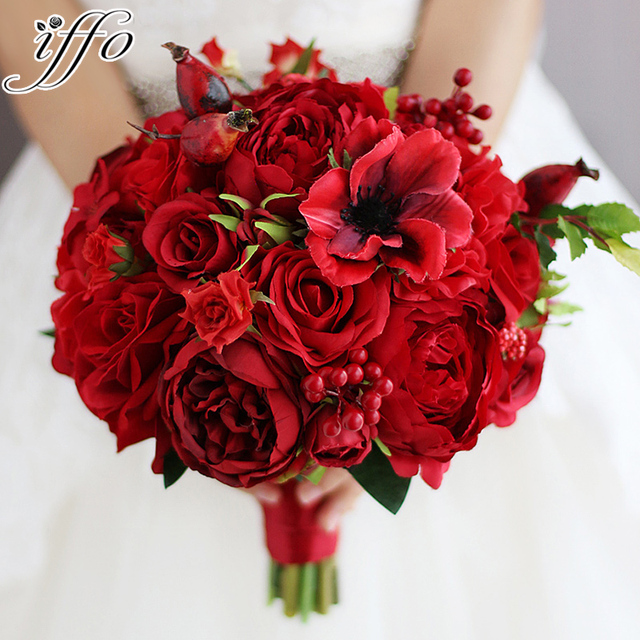 New Red Wedding Bouquet Artificial Rose Flower Berry Holding Bridesmaid Bride Bridal Bouquets
