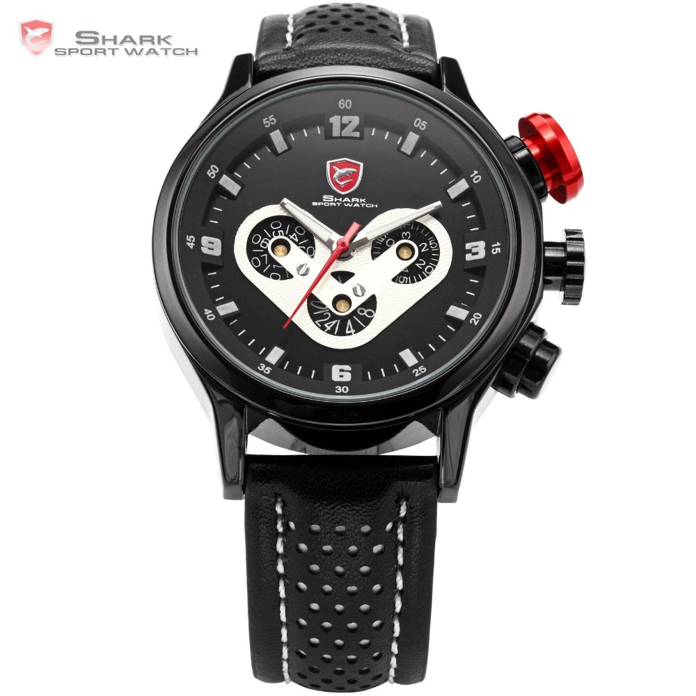 Brand Mens SHARK Sport Watch Date Day Racing Dashboard Steel Case Leather Strap Black Wrap Tag Sports Quartz Watches Gift /SH088 pattous mens sports watch black genuine leather chronograph dial date sport quartz watches miyota quartz wrist watch gift box