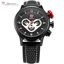 Marca Mens SHARK Reloj Del Deporte Fecha Día Acero Racing Dashboard caso Correa de Cuero Negro Wrap Etiqueta Deportes de Cuarzo Relojes de Regalo/SH088