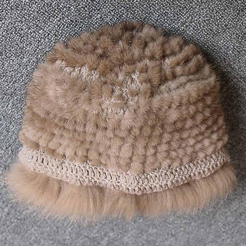 Réel vison fourrure femme chapeau renard fourrure beanie casquettes hiver femme chapeaux mode vison fourrure tricot chapeau - 6