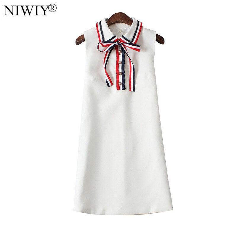 niwiy brand bow sleeveless white summer dress robe femme. Black Bedroom Furniture Sets. Home Design Ideas