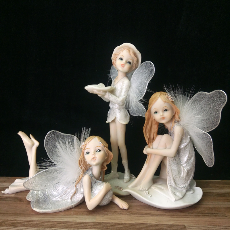 Angels gifts resin angel Flower fairy Figurines Statues wedding decoration sweet White Angel home decoration Beautiful Girl