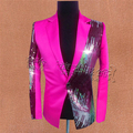 Free ship mens stage performance hot pink/yellow sequined tuxedo jacket ,only jacket