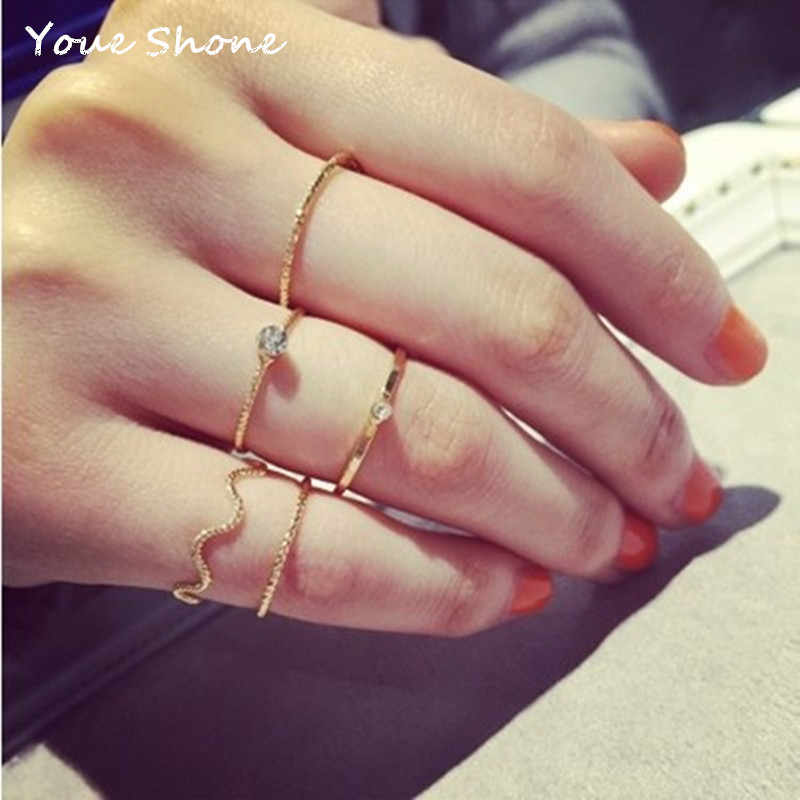 New simple and stylish wave thread ring set of five Women's metal joint ring Alloy jewelry tail ring Party gift Wedding ring