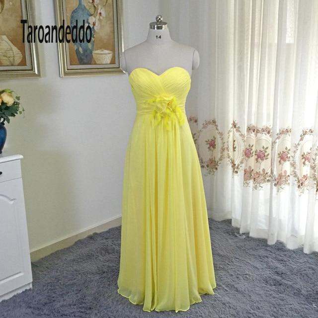 Trägerloses Gelb Chiffon Feather Plus Size Brautjungfer Kleid ...