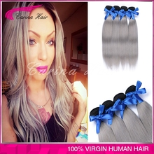 New Arrival 1B Grey Ombre Brazilian Hair Extensions Dark Root Hair Weave Straight Human vergin Hair