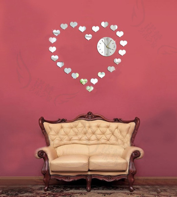 Romatic Small Heart Shaped Mirror Stickers Design Diy Wall Clock Novelty Home Decor Items Free Shipping
