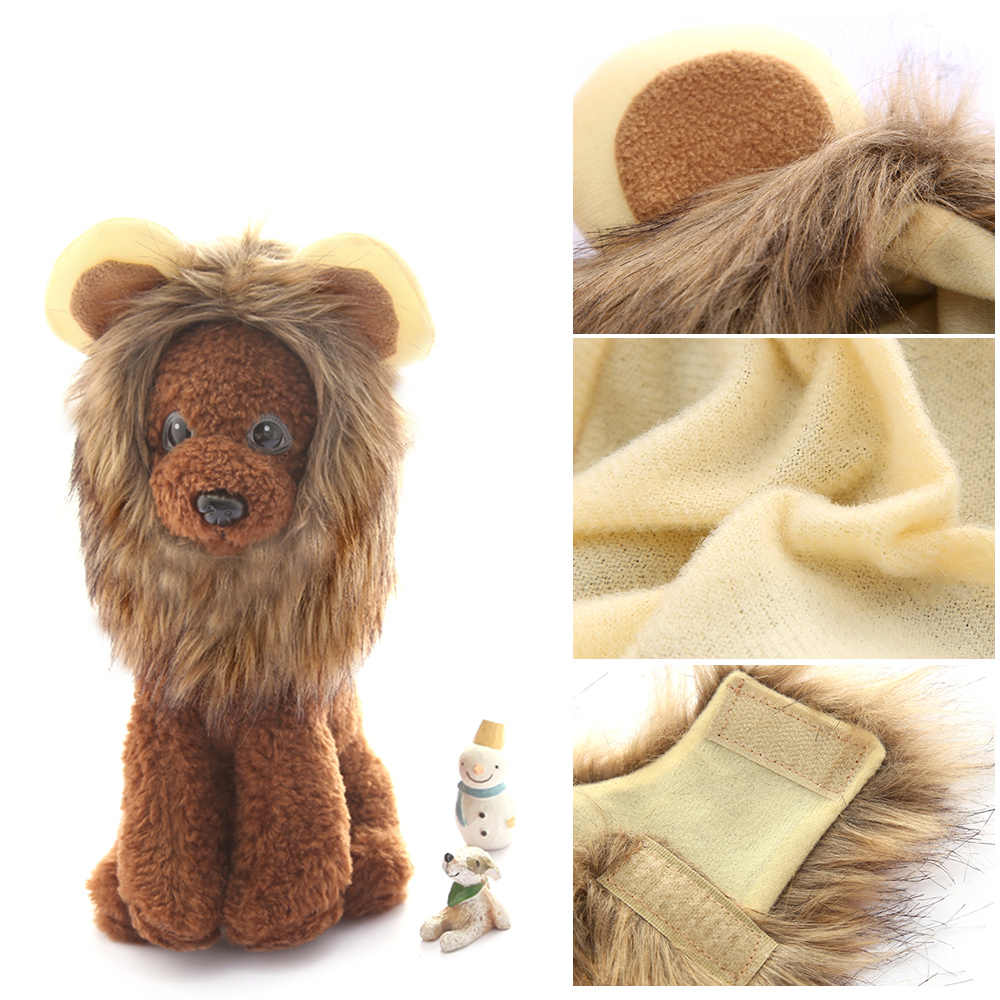 6d07a8a65 ... Cute Pet Costume Wig Caps for Cat Puppy Pet Dog Lion Hair Hats Party  Halloween Cosplay ...