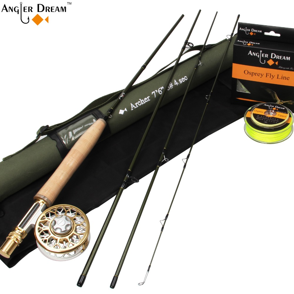 Fly Fishing Combo 3WT 7.5FT Carbon Fiber Fly Fishing Rod & 3/4WT Large Arbor Aluminum Fly Reel & Fly Line Backing Leader Tippet цена и фото