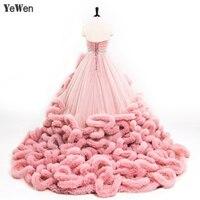 Luxury Princess Red Pink Cloud Wedding Dress 2020 Plus Size Ball Gown Bride Dress Vestidos De Noiva Robe De Mariage 8001YeWen