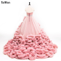YeWen Luxury Princess Red Pink Cloud Plus Size Ball Gown Wedding Dresses 2019 Bride Dress Vestidos De Noiva Robe De Mariage 8001