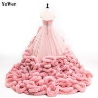 YeWen Luxury Princess Red Pink Cloud Plus Size Ball Gown Wedding Dresses 2019 Bride Dress Vestidos De Noiva Robe De Mariage