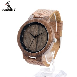 Image 2 - BOBO BIRD Wooden Quartz Men Watches Casual Leather Strap Analog Watch With Gift Box