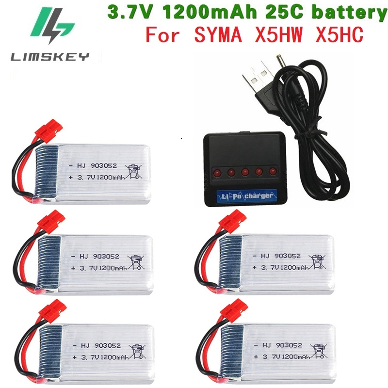 3.7V 1200mAh 25c Lipo Battery + Charger For SYMA X5 X5C X5HW X5SW H11D H11C For RC Camera Droens Qaudcopter Spare Battery Parts