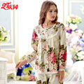 Brand New Spring and Summer Autumn And Winter Women Pajamas 100% Cotton Long Sleeve Length Pants Casual Floral Sleepwear 1164