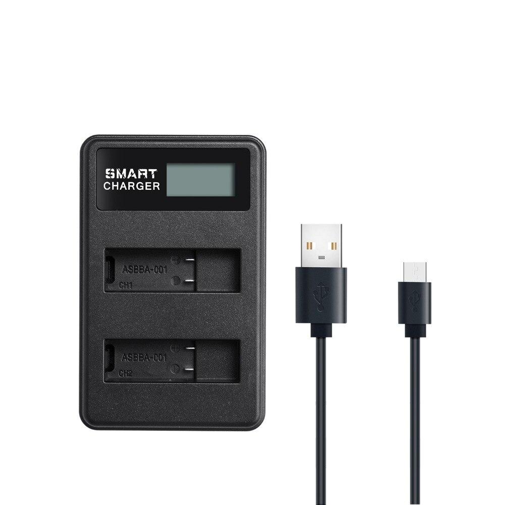 ASBBA-001 Batterie LCD USB Batterie Chargeur Accu + Double avec Type C Port pour Gopro Fusion, 360 Degrés Caméra