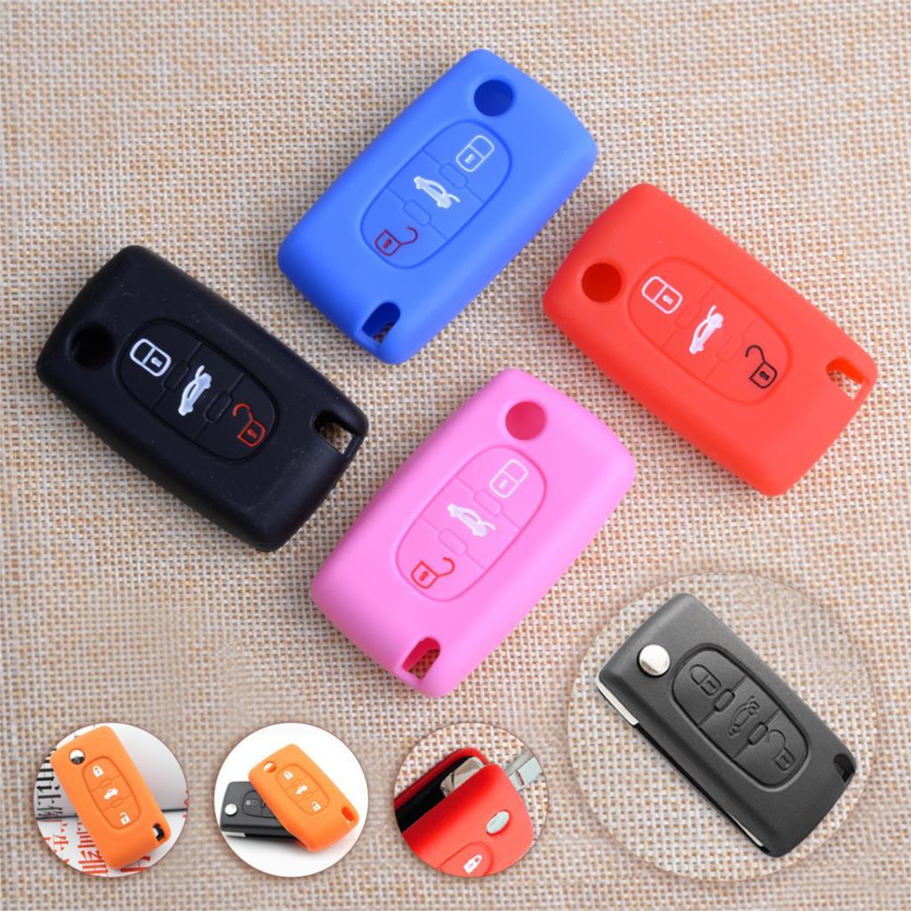 DWCX Car Silicone 3 Button Remote Flip Key Cover Case Fob 6.2 X 3.3 X 1.4cm Fit For Peugeot 107 207 307 308 406 407 408 607