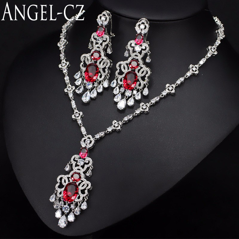 ANGELCZ Romantic Red CZ Silver Color Big Drop Earrings And Necklace For Women Dazzling Crystal Christmas
