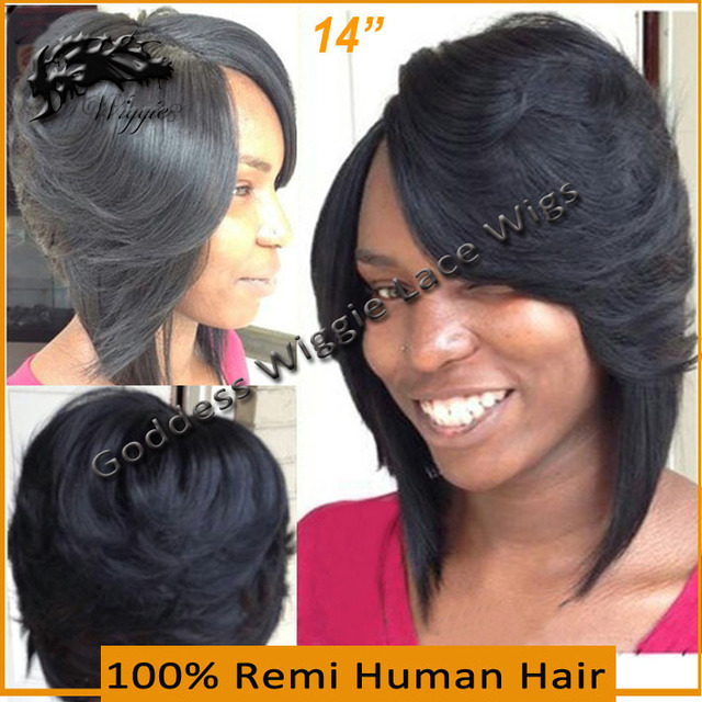 Human Full Lace Wigs Brazilian Hair Layered Bob Wig 14 Inch Short