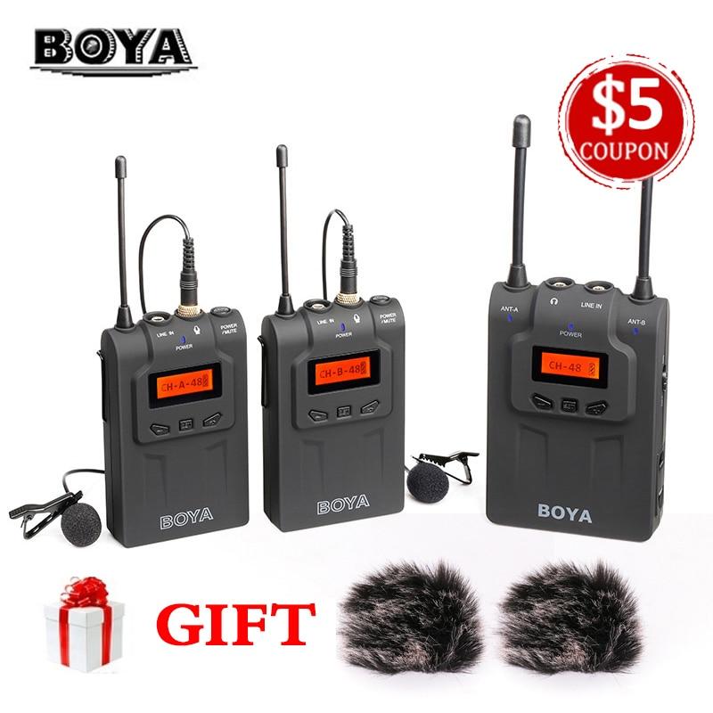 Tüketici Elektroniği'ten Mikrofonlar'de BOYA BY WM8 Çift Kanallı UHF Kablosuz Mikrofon Sistemi Yaka Mikrofonu 2 Vericiler 1 Alıcı için Canon nikon kamera Röportaj