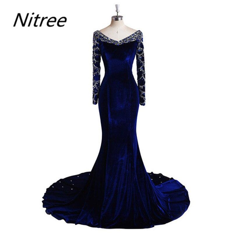Royal Blue Velvet Mermaid Prom Dresses 2017 Long Sleeves Spring Fall Custom Made High Quality Elegant Robe De Soiree Vestidos