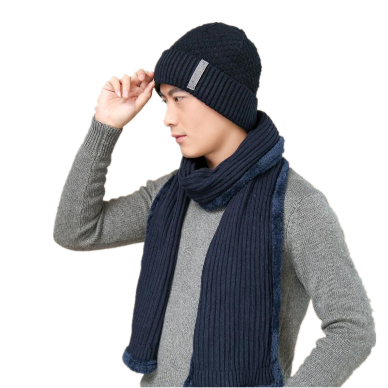 A Set Of <font><b>Men</b></font> Women Winter Hats Scarves <font><b>Gloves</b></font> Cotton Knitted Hat Scarf Set For Male Female Winter Accessories 2 Pieces Hat Scarf